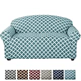 Home Fashion Designs Printed Stretch Loveseat Furniture Cover Slipcover Brenna Collection, Smoke Blue