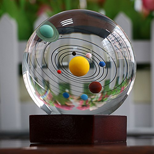 OwnMy 3.2 inch/80mm Solar System Crystal Ball Clear Sphere Plant Ball Paperweight Art with Wood Stand for Decoration (Paperweight Planet)