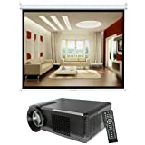 Pyle Video Projector and Screen Package - PRJLE33 Portable LED Projector for Gaming TV Shows Movies and Sports at Up To 100 Inches / Supports HD Input - PRJSL72 72'' (43''Hx57''W) Manual Self Locking Projector Standard Format (4:3) Screen - For Home, School, Office, Business, Meetings and Presentations etc.