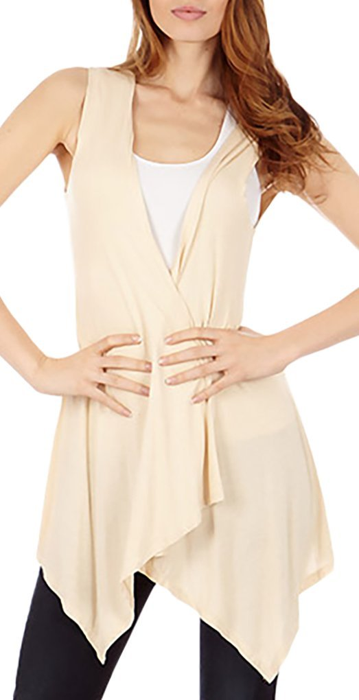 Sleeveless Light Weight Flyaway Cardigan Vest with Elastic Detail at Back Dinamit Jeans B00VXR7DWW