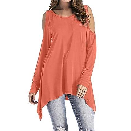 16c60bf6fa9 Amazon.com: KFSO Women Long Sleeve O-Neck Cold Shoulder Swing ...