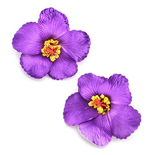 (DreamLily 2 Pack Hawaiian Plumeria Flower Foam Hair Clip Balaclavas For Holiday Beach Party JZ07 (Purple))
