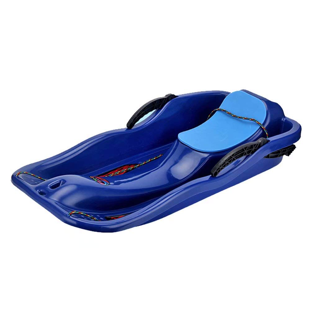 Prettywan Snow Sled for Kids Adults,Downhill Toboggan Slider Boat Skiing Board with Cushion Pull Rope for Outdoor Grass Dune Game