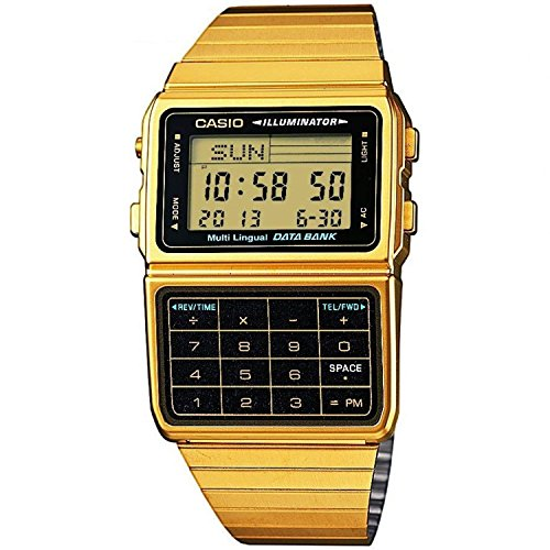Casio #DBC611G-1D Men's Gold Tone 25 Memory Calculator Databank Watch Day Retro Gold Tone Watch