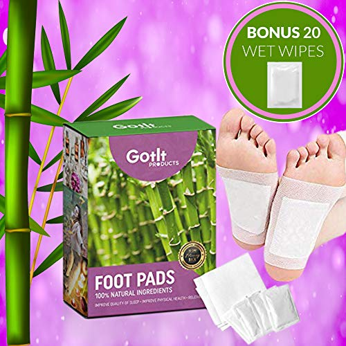 (Pack of 20 Bamboo Foot Patches | Bamboo Vinegar Foot Pads | All Natural & Premium Ingredients for Relief & Results | Apply, Sleep & Feel Better | No Stress Packaging | Improve Your Sleep Overnight)