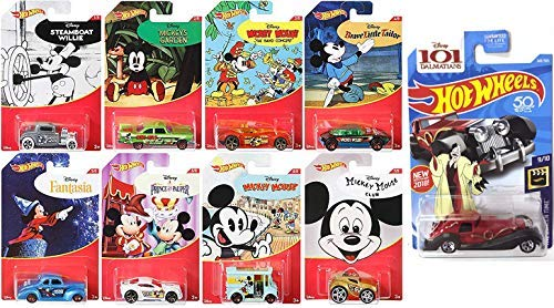 - 9 Hot Wheels Disney Pack Mickey Mouse & Cruella De Vil Character Series Exclusive 8 Cartoon Car Set + 101 Dalmations Screen Time Pack Bundle