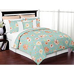 Sweet Jojo Designs Turquoise and Peach Shabby Chic Watercolor Floral Girl Full/Queen Kid Teen Bedding Comforter Set - 3 Pieces - Pink Rose Flower