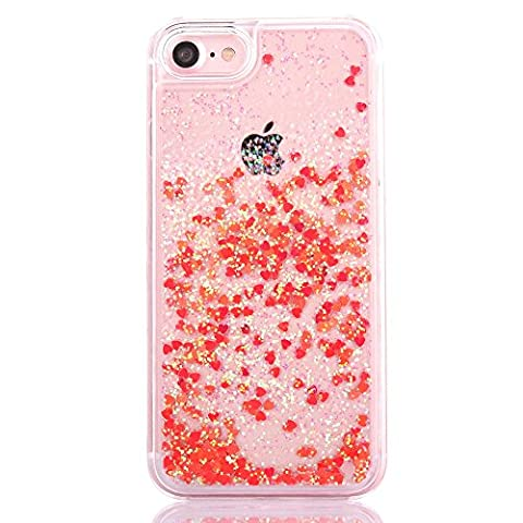 iPhone 7 Plus case, 7s Plus case,Myckuu Liquid, Cool Quicksand Moving Stars Bling Glitter Floating Dynamic Flowing Case Liquid Cover for Iphone 7s Plus (red - Glistening Heart