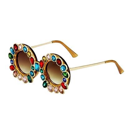 NECCT Cristal de Lujo de Gran tamaño Gafas de Sol Redondas ...