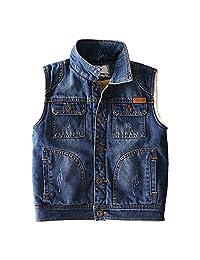 QJH Boys Kids Trendy Denim Vest With Chest Pockets Velvet Lining