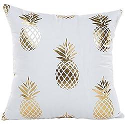 """MHB Gold Foil Pineapple Throw Pillow Case Cushion Cover 18"""" x 18"""""""