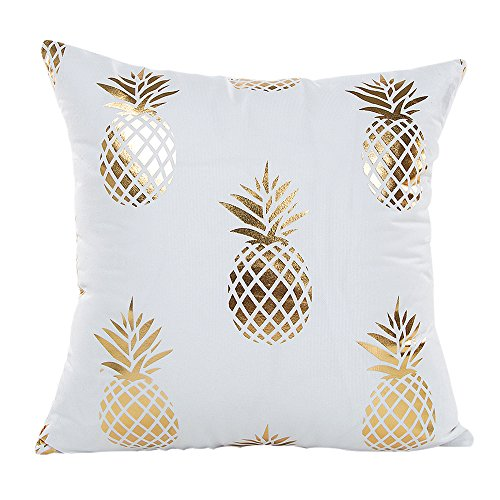 "MHB Gold Foil Pineapple Throw Pillow Case Cushion Cover 18"" x 18"""