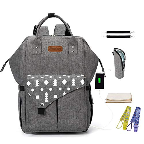 Backpack Diaper Bag – ionlyou Waterproof Travel Nappy Diaper Backpack for Mom/Dad – Multifunctional Lightweight Tote Bags with Insulated Pockets + Changing Pad + Pacifier Clips, Heather Gray