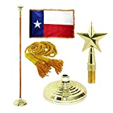 Texas 3ft x 5ft Flag, Flagpole, Base, and Tassel (Texas Star, 7 Ft Oak Pole)
