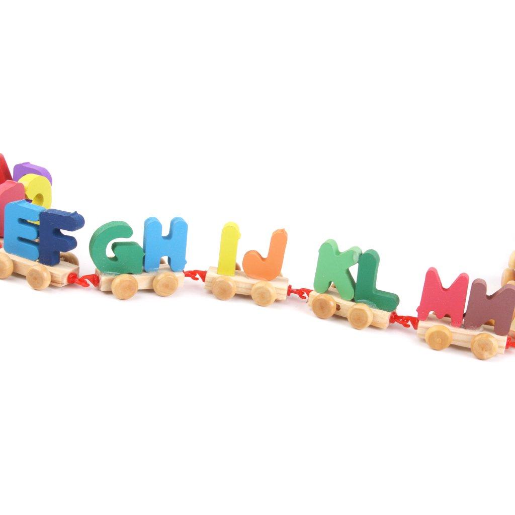 Jouet Petit Train de Lettres en Bois Multicolore