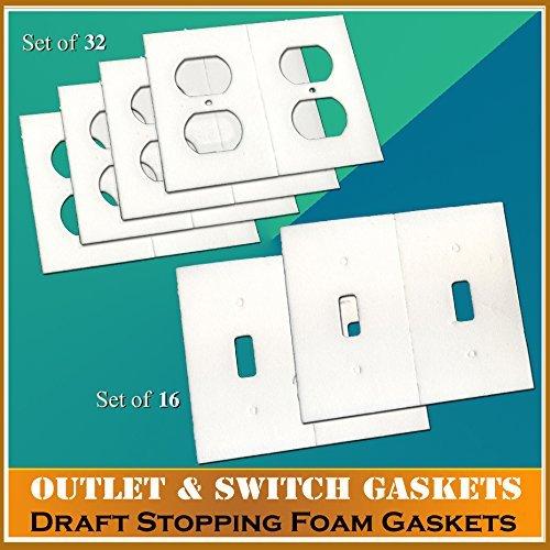 ガスケットカバー、電気コンセント&ライトスイッチプレートドラフトストッパーFoamガスケット ホワイト EK-OSG 2  B017KZFTK8