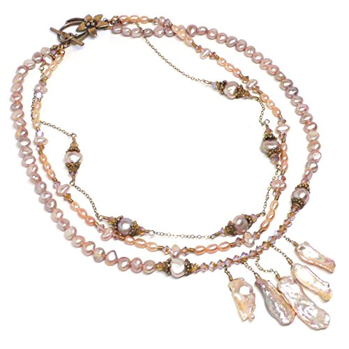 (Three Strand Layered Crystal Statement Necklace Mauve Cultured Kishi Pearl Collar Bib Bridal)