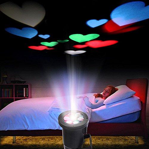 Excelvan Farbrige Herz LED Projector Lampe Stimmungslicht Dekoratives Farbiges Leuchtmittel für Party Festival Hochzeit Kinderzimmer Garten mit Wasserdichtes Design