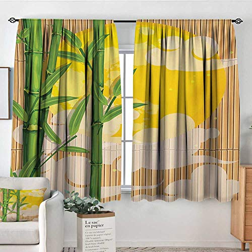 Used, Kitchen Curtains Asian,Bamboo Tree Branches Full Moon for sale  Delivered anywhere in Canada
