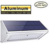 Licwshi 1100 Lumens Solar Lights 48 LED 4500mAh Lights Waterproof Outdoor Aluminum Alloy Housing, Radar Motion Sensor Light for Step, Garden, Yard, Deck-Warm White (1 Pack)