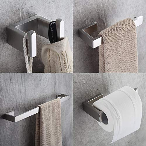 YUFER Brushed Nickel 4 Piece Bath Hardware Towel Bar Accessory Set Stainless Steel Towel Holder Set for Bathroom Wall Mounted