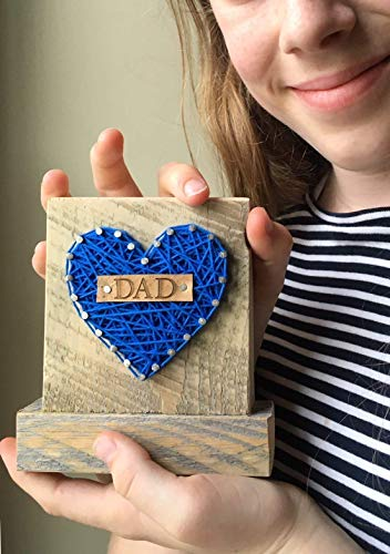 Sweet & small blue DAD string art heart sign block. Perfect Father's Day gift. I love you Dad, by Nail it Art. #1 Dad.