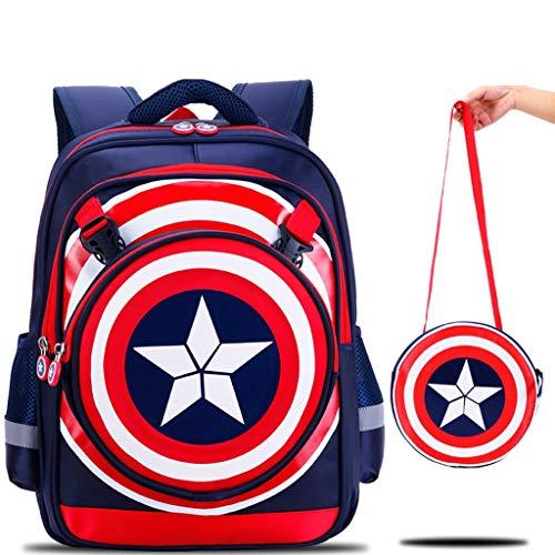 LLDDP Kids Backpack Kids' Backpacks Captain America Detachable Shield Crossbody Bag 6-12 Years Old Boy Backpack Children's Lightweight Casual Backpack Nursery Bag (Size : L)]()