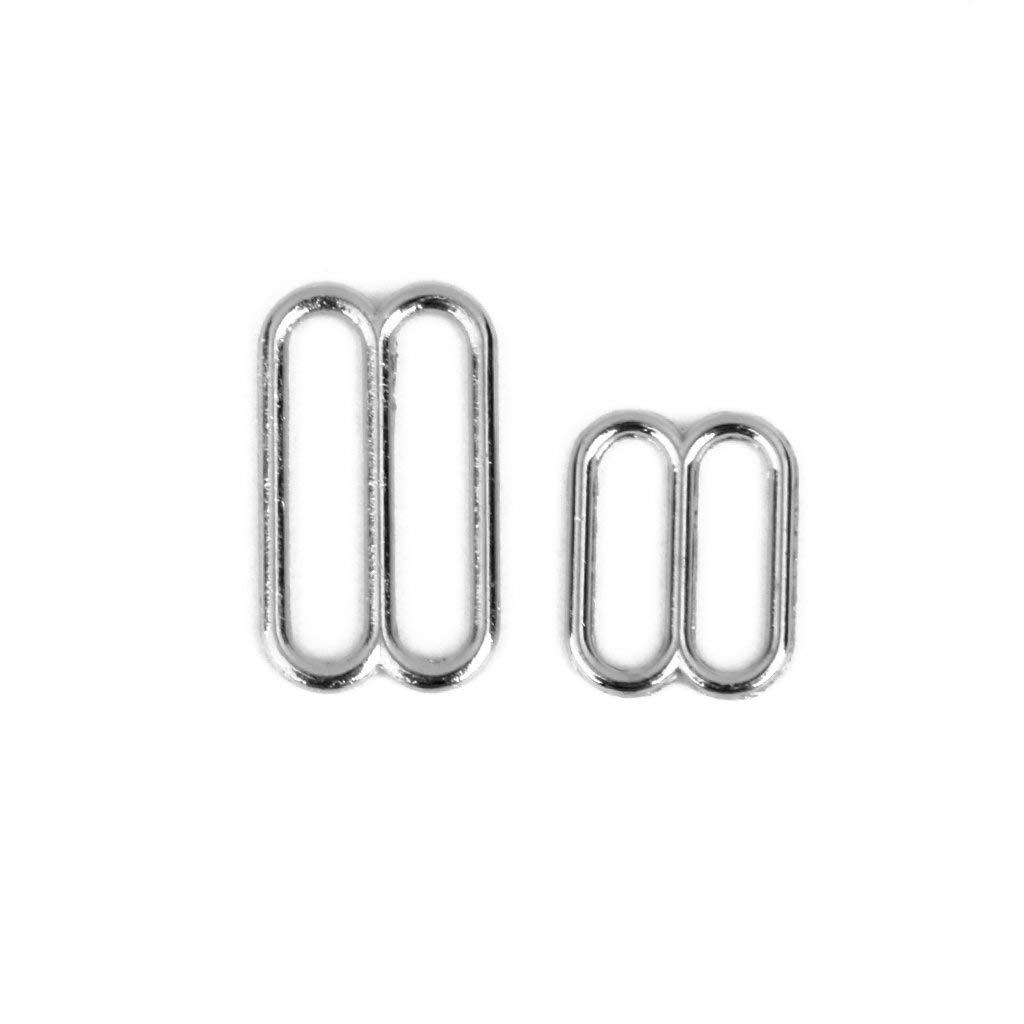 G/én/érique Lot de 200 Anneaux de Soutien-Gorge et curseurs ajusteurs de Sangle de Lingerie en m/étal Anneaux pour Couture 10 mm AOD