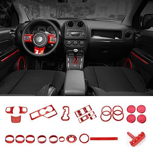 Highitem Full Set Interior Decoration Trim Kit Dashboard Steering Wheel Speaker Air Vent Decoration Cover Trim Interior Accessories for Jeep Patriot for Compass 2011-2016