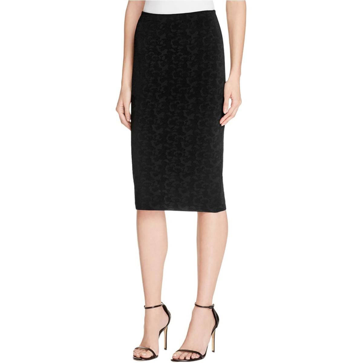 Elizabeth and James Womens Pencil Textured Pencil Skirt Black S