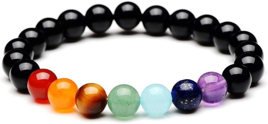NO LOGO QJBH Obsidian 7 Chakra Pulseras & Bangles Yoga Balance Beads Buda de oración Pulsera elástica de Piedra Natural Hombre Joyas Regalo pulseira
