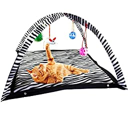 Zeroyoyo Fun Pet Cat Activity Tent Zebra Stripes Exercise Toy with Hanging Balls, Mice & More , 24\'\' x 24\'\' x 13.4\'\'