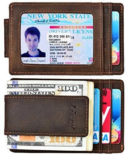 (Money Clip, Front Pocket Wallet, Leather RFID Blocking Strong Magnet thin Wallet (Crazy Horse dark brown))