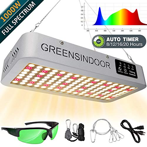 INDOORGREENS 1000W LED Grow Light for Indoor Plants with Timer, 3500K 660nm Full Spectrum Led Grow Lights, Daisy Chain Led Plant Light Indoor Growing Lamp for Succulents Cactus Orchids Herbs Flowers