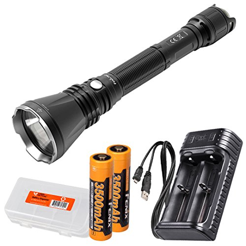 Fenix TK47 1300 Lumen 766 Yard Throwing Neutral White LED Tactical Flashlight w/ 2X 3500mAh Rechargeable Batteries, USB Battery Charger & LumenTac Battery Organizer ()