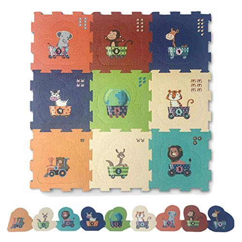 Red Suricata Baby Play Mats for Infants - 2 in 1 Baby Playmat for Toddlers, Kids - Educational Multicolor Foam Jigsaw Puzzle Playing Baby Floor Mats (Animal Train)