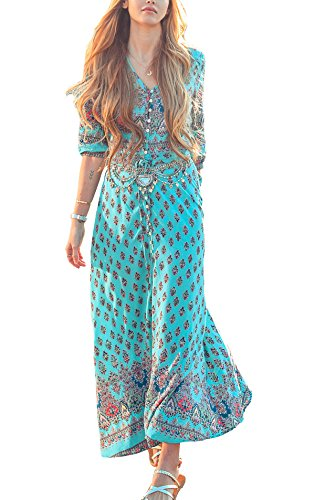 [R.Vivimos Women Summer Print V Neck Maxi Dresses 3XL Light Green] (Hippie Dress)