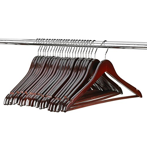 Florida Brands 48 Pack Solid Mahogany Wood Suit Hangers | Standard Size Suit Hangers with Non Slip Bar and Precisely Cut Notches| Polished Chrome Hook |Durable Wooden Hangers