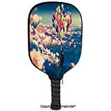 AmaUncle 3D Pickleball Paddle Racket Cover Case,Man Flying with Colorful Balloons in The Sky on Clouds Miracle Paint Print Customized Racket Cover with Multi-Colored,Sports Accessories