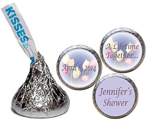 Tulip Stickers for the Bottom of Chocolate Kisses, Personalized (Set of ()