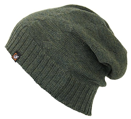 Evolution Knitwear 100% Wool Cable Knit Beanie Hat Cap for Women & Men (Loden) (Wool Loden Green)