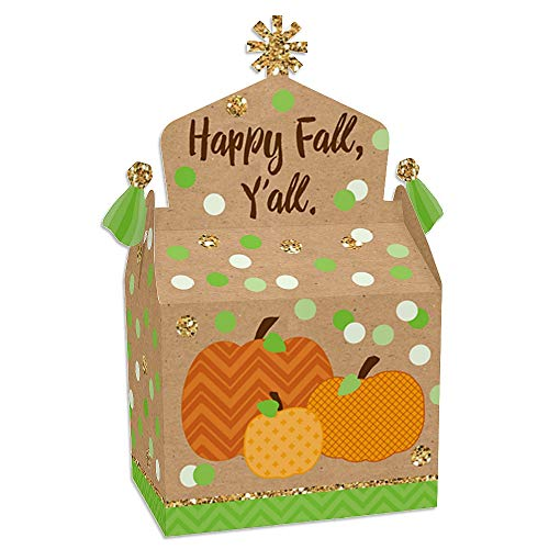 Big Dot of Happiness Pumpkin Patch - Treat Box Party Favors - Fall and Thanksgiving Party Goodie Gable Boxes - Set of 12