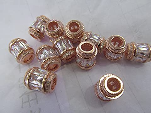 AAA GRADE 12pcs 10x15mm Micro Pave cubic zirconia beads Rice Barrel Drum silver gold gunmetal rose gold charm - Gold Silver Brads