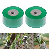 2 Rolls Garden Grafted membrane Repair Tool Grafting Tape Stretchable Self-adhesive For Garden Tree Seedling 1.2inch Width Color Green By DINGJIN