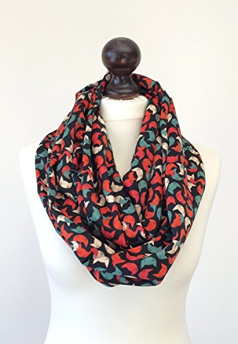 Cat Lovers Infinity Scarf, Colorful Cats Satin Circle Scarf, Animal Infinity Scarf, Unisex Cat Scarf