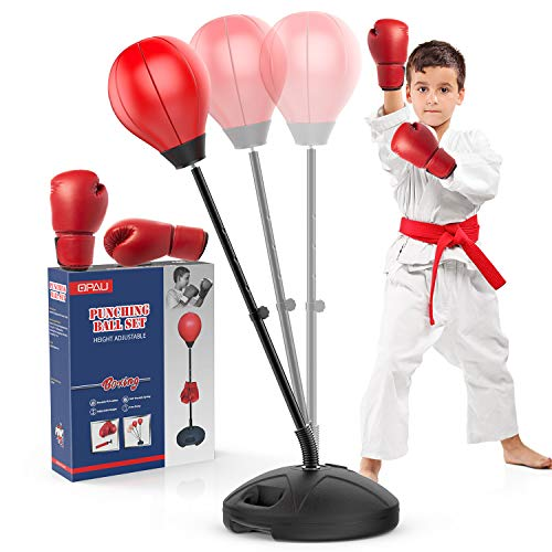 """QPAU 2021 Upgraded Punching Bag for Kids and Stand, Adjustable Height up 47.5"""" with Stronger Spring Incl Boxing Gloves…"""