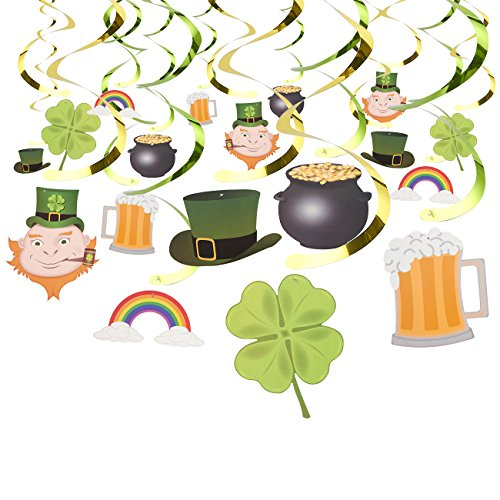 30-Count Swirl Decorations - St. Patrick's Day Party Supplies, Foil Hanging Ceiling Whirl Streamers, 6 Designs, Green and Gold - Hanging Length: 36 Inches (Patricks Day Streamer)