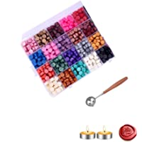 600PCS Sealing Wax Beads Packed in Plastic Box, with 3PCS Tea Candles and 1 PC Wax Melting Spoon for Wax Sealing Stamp…