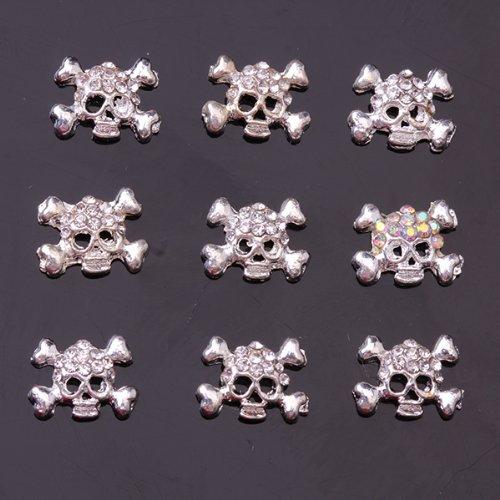 10Pcs Cool Punk Gothic Skull Bling Rhinestone Nail Art Accessories Cellphone Decoration