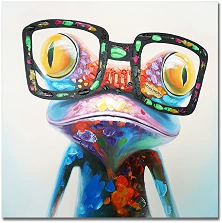 SEVEN WALL ARTS – 100 Hand Painted Oil Painting Cute Animal Frog Painting Happy Frog with Glasses for Living Room Kids Room Decor 40 x 40 Inch